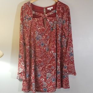 Umgee Plus XL Red Floral Bell Sleeve Tunic